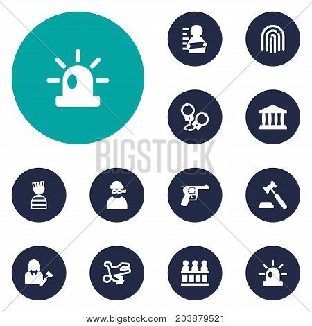 Collection Of Thief, Building, Judge Gavel And Other Elements.  Set Of 12 Criminal Icons Set.