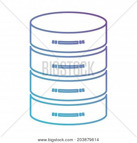 server hosting storage icon in color gradient silhouette from purple to blue vector illustration