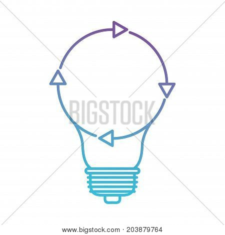 light bulb with reload icon in color gradient silhouette from purple to blue vector illustration