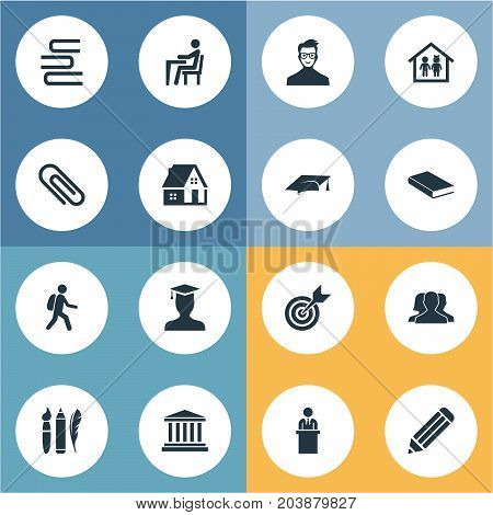 Elements Paperclip, Tribune, Preschool Building And Other Synonyms Bookshop, Pen And Building.  Vector Illustration Set Of Simple Education Icons.