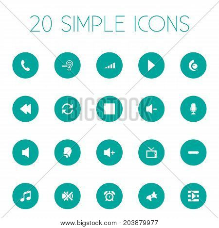 Elements Plus, Increase, Musical Symbol And Other Synonyms Silence, Collection And Telephone.  Vector Illustration Set Of Simple Sound Icons.