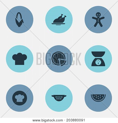 Elements Scales, Maize, Cooking Uniform And Other Synonyms Cooking, Slice And Cookies.  Vector Illustration Set Of Simple Kitchen Icons.