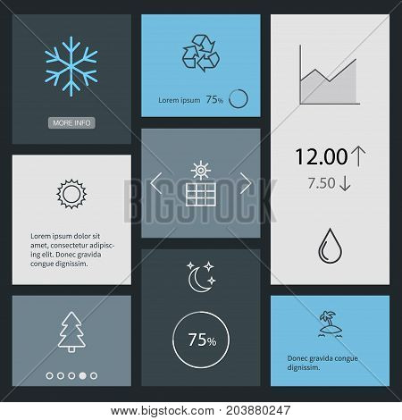 Collection Of Water Drop, Recycle, Sun Power And Other Elements.  Set Of 8 Ecology Outline Icons Set.