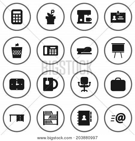Collection Of Case, Book, Sew And Other Elements.  Set Of 16 Office Icons Set.