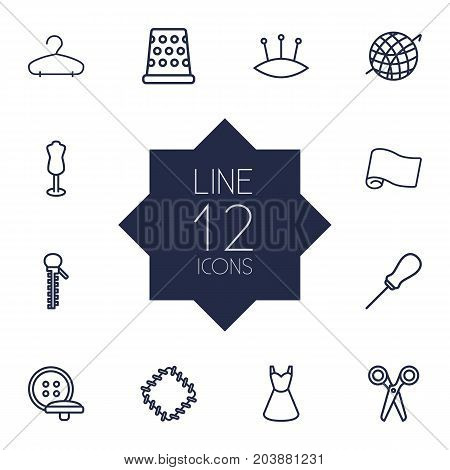 Collection Of Awl, Buttons, Dummy And Other Elements.  Set Of 12 Tailor Outline Icons Set.