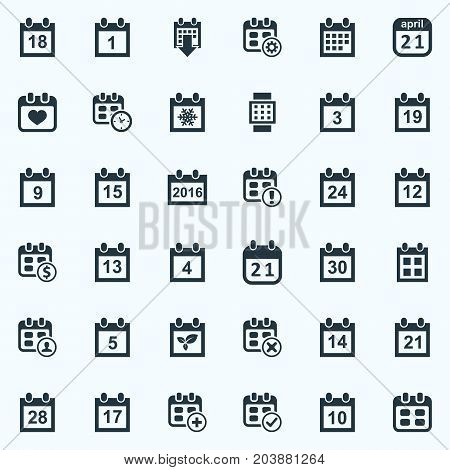Elements Intelligent Hour, Twenty-One, Date Block And Other Synonyms Fifteenth, Winter And Spring.  Vector Illustration Set Of Simple Calendar Icons.