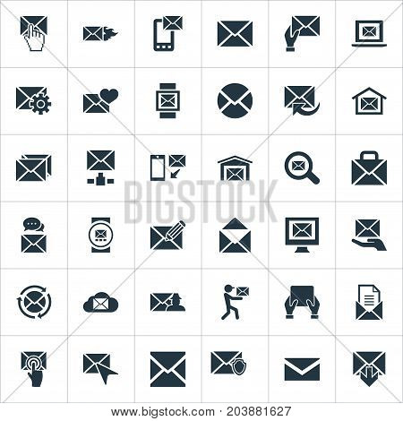 Elements Sending, Postal Box, Tuning And Other Synonyms Address, Ingoing And Web.  Vector Illustration Set Of Simple Mail Icons.