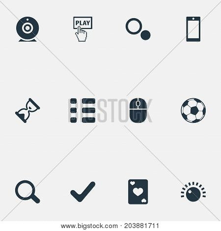 Elements Ace, Circles, Display And Other Synonyms Football, Wait And Checklist.  Vector Illustration Set Of Simple Leisure Icons.