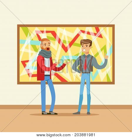 Two men standing in modern art gallery and discussing colorful painting, people attending museum vector Illustration
