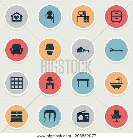 Elements Sunbathing, Dwelling, Bedside Socle And Other Synonyms Stand, Residential And Bookcase.  Vector Illustration Set Of Simple Furniture Icons.