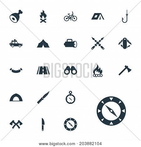 Elements Lumberjack, Barbecue, Navigation And Other Synonyms Bayonet, Field And Weapon.  Vector Illustration Set Of Simple Camp Icons.