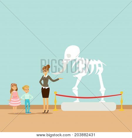 Museum guide telling children about dinosaur skeleton, kids in museum of paleontology vector Illustration