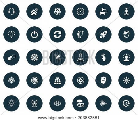 Elements Click, Hybrid Auto, Time And Other Synonyms Growth, Update And Man.  Vector Illustration Set Of Simple Invention Icons.