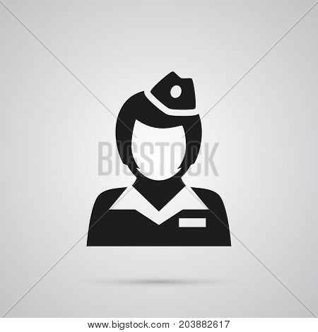 Vector Hostess Element In Trendy Style.  Isolated Stewardess Icon Symbol On Clean Background.