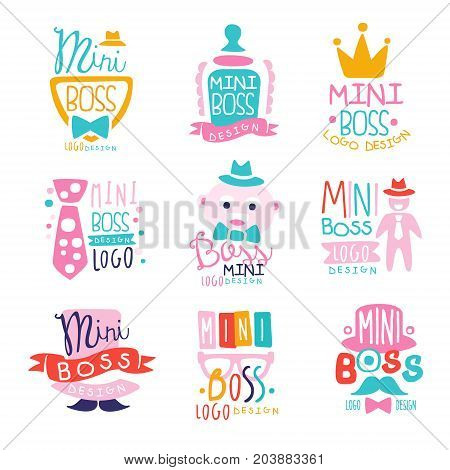 Mini boss logo design colorful hand drawn vector Illustrations can be used for baby or toys shop, kids club and any other children s projects