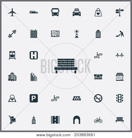 Elements Park Seat, Kiosk, School And Other Synonyms Kiosk, Location And Aircraft.  Vector Illustration Set Of Simple Infrastructure Icons.