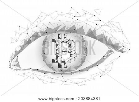 Crypto currency bitcoin in eye. Net banking mining future technology vector greed concept. Cryptography finance digital worldwide coin low poly polygonal triangle icon illustration art
