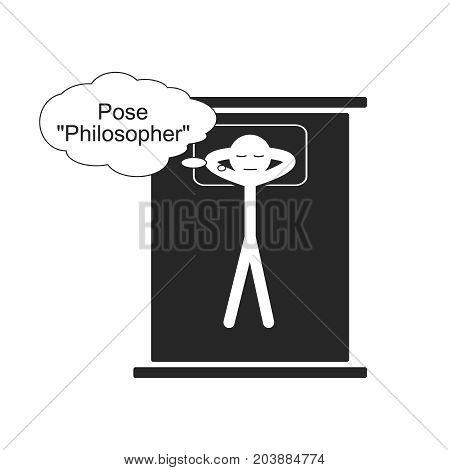 Pose of Philosopher for sleep, vector illustration