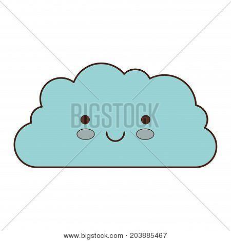 cloud cartoon kawaii in colorful silhouette vector illustration