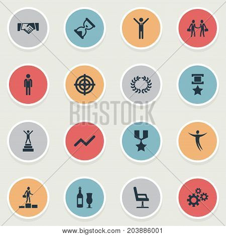 Elements Chair, Chart, Reward And Other Synonyms Trophy, Infographic And Military.  Vector Illustration Set Of Simple Trophy Icons.