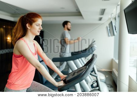 People training endurance and cardio in gym