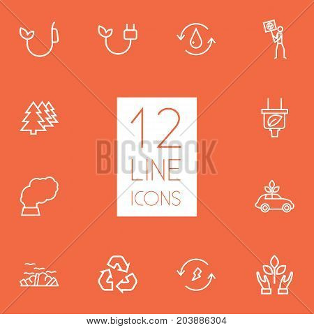 Collection Of Renewable Energy, Plug, Water And Other Elements.  Set Of 12 Bio Outline Icons Set.