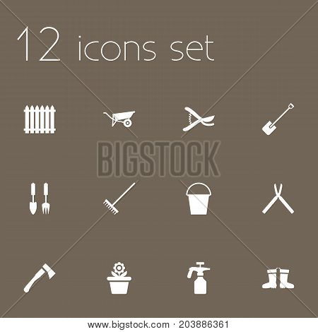 Collection Of Bucket, Scissors, Spray Bottle And Other Elements.  Set Of 12 Household Icons Set.