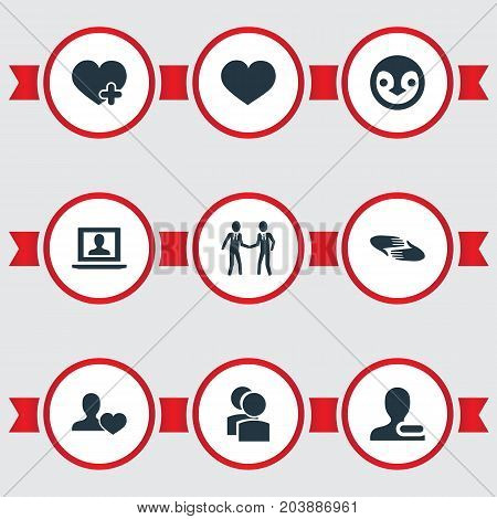 Elements Profile, Charity, Remove User And Other Synonyms Remove, Heart And Companion.  Vector Illustration Set Of Simple Buddies Icons.