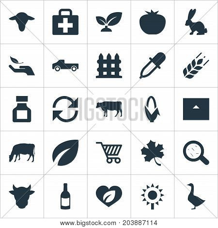 Elements Cart, Pipette, Livestock And Other Synonyms Protect, Soil And Goose.  Vector Illustration Set Of Simple Agriculture Icons.