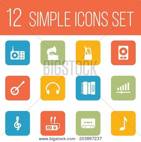 Collection Of Quaver, Turntable, Radio And Other Elements.  Set Of 12 Melody Icons Set.