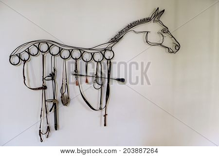 Horse Shape Decoration Made By Bridle