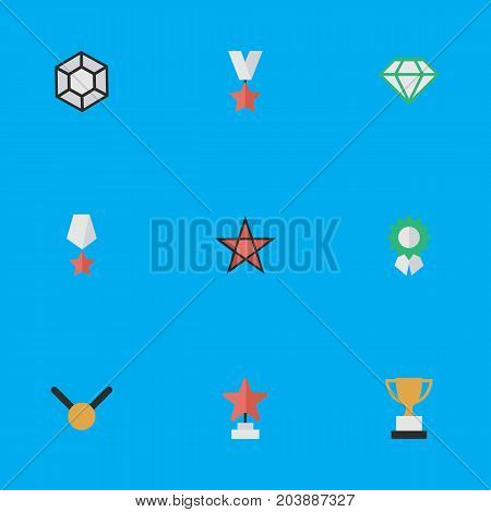 Elements Medal, Reward, Goblet And Other Synonyms Reward, Stone And Gold.  Vector Illustration Set Of Simple Trophy Icons.