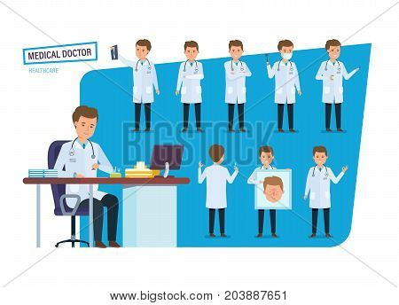 Set of character person medical doctor, healthcare. Doctor in various situations and poses: with a first-aid kit and tools in hand, gesticulating and working at his desk. Vector illustration. poster