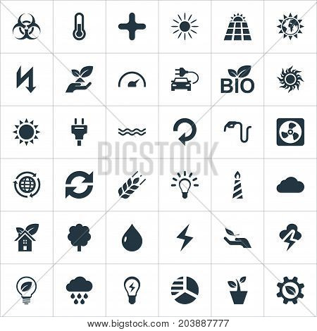 Elements Solar Energy, Globe, Fahrenheit And Other Synonyms Cloudburst, Overcast And Add.  Vector Illustration Set Of Simple Green Icons.