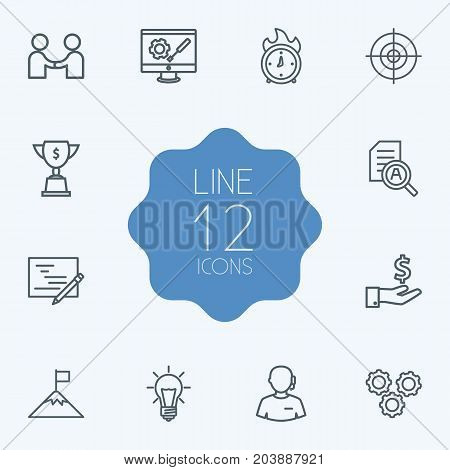 Collection Of Partnership, Money Saving, Success And Other Elements.  Set Of 12 Strategy Outline Icons Set.