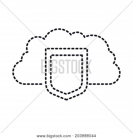 cloud storage data protection shield icon in monochrome silhouette dotted vector illustration