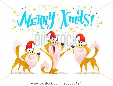 Vector set of cartoon funny smiling dog portrait in santa hat with xmas greeting and confetti isolated on white background. Lettering christmas greeting New year congratulation. Card banner design.