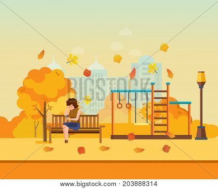 Autumn kids playground, entertainment in form of horizontal bars and swings, walking park. Autumn city park with colorful seasonal leaves. Girl resting in park. Modern vector illustration isolated.