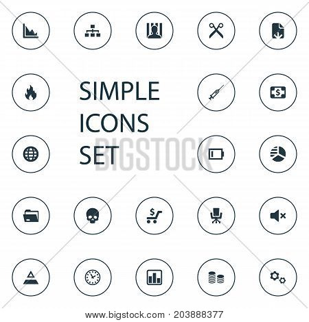 Elements Silence, Corporation, Head Bone And Other Synonyms Flame, Folder And Off.  Vector Illustration Set Of Simple Impasse Icons.