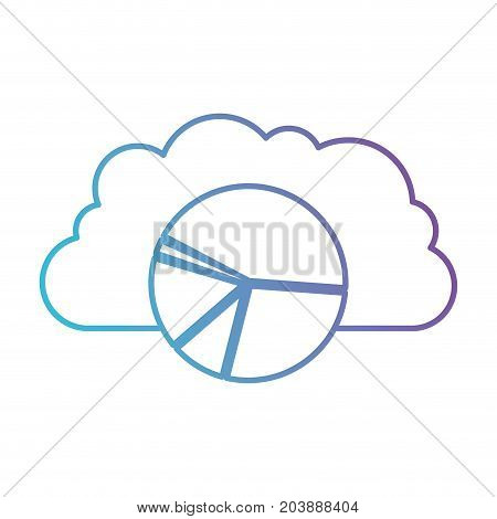 cloud storage data service icon and available space circular graphic in color gradient silhouette from purple to blue vector illustration