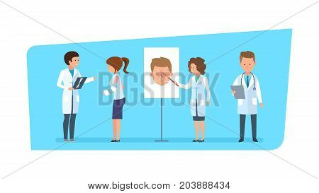 Healthcare and medical help. Girl with hand injury, at reception with surgeon's doctor, in room in hospital. Doctors character person, speaking diagnose and medicine materials. Vector illustration.