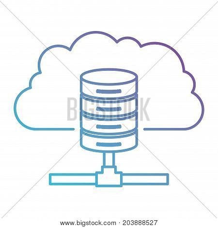 cloud and network server storage icon in color gradient silhouette from purple to blue vector illustration