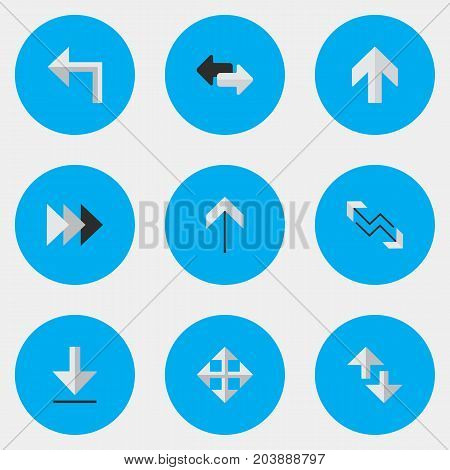 Elements Loading, Arrow, Cursor And Other Synonyms Forward, Export And Import.  Vector Illustration Set Of Simple Pointer Icons.