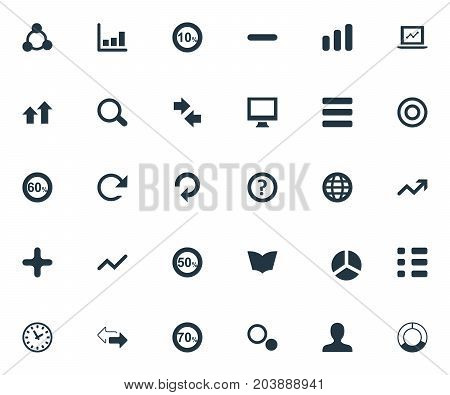 Elements Fifty, Round, Opposite And Other Synonyms Earth, Dictionary And Refresh.  Vector Illustration Set Of Simple Analytics Icons.