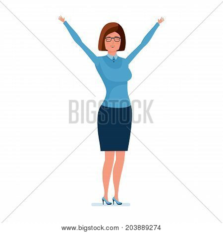 Modern teaching and education system. Young teacher character person holding her hands up, rejoices, showing her emotions. Teaching on lesson in classroom. Vector illustration in cartoon style.