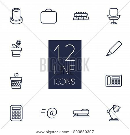 Collection Of Wastebasket, Briefcase, Email And Other Elements.  Set Of 12 Bureau Outline Icons Set.