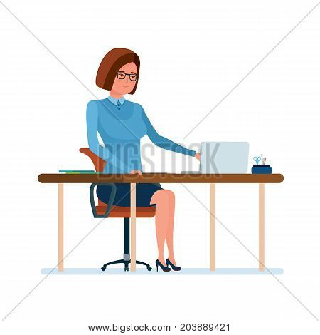 Modern teaching and education system. Young teacher at her desk, working at a laptop with documents and checking work. Teaching on lesson in classroom. Vector illustration isolated in cartoon style.