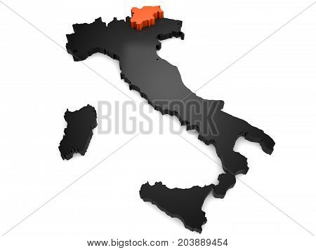 Italy 3d black and orange map, whith trentino region highlighted 3d render