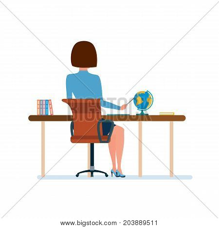 Modern teaching and education system. Teacher at her desk, working at laptop with documents and checking work. Teaching on lesson in classroom. Rear view in office. Illustration in cartoon style.