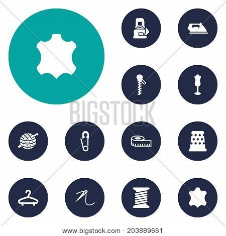 Collection Of Spool, Fastener, Meter And Other Elements.  Set Of 12 Sewing Icons Set.